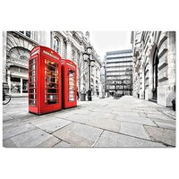 London Red Phone Booths 118 x 80cm Stretched Canvas