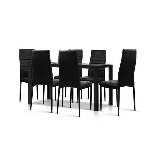 Charcoal 7 Piece Glass Dining Set Table
