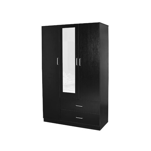 Kensington 3 Door 2 Drawer  Wardrobe Black