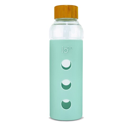 IOco Glass Water Bottle with Bamboo Lid - Fresh Mint