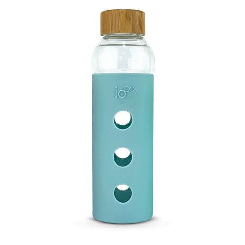 IOco Glass Water Bottle with Bamboo Lid - Cool Breeze