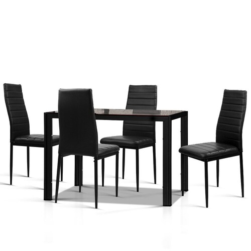 Caesar 5-Piece Dining Table and Chairs Sets - Black