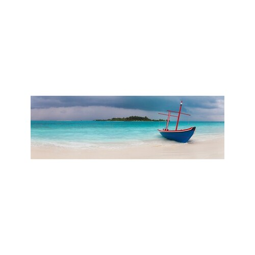 Beached Dhoni Boat 158 x 53cm Stretched Canvas