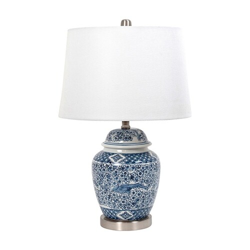 Coast Ceramic Blue White Silver Lamp